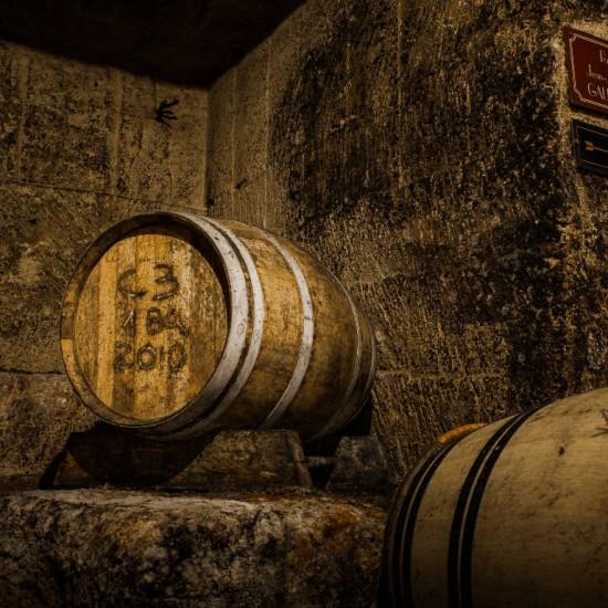 Wine barrels at Maison du Vin in Saint-Émilion