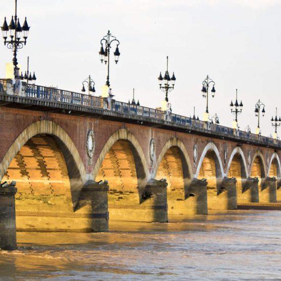 Pont de Pierre or Stone Bridge over the Garonne River in Bordeaux