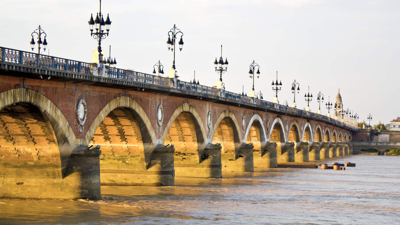 Pont de Pierre or Stone Bridge over the Garonne River in Bordeaux