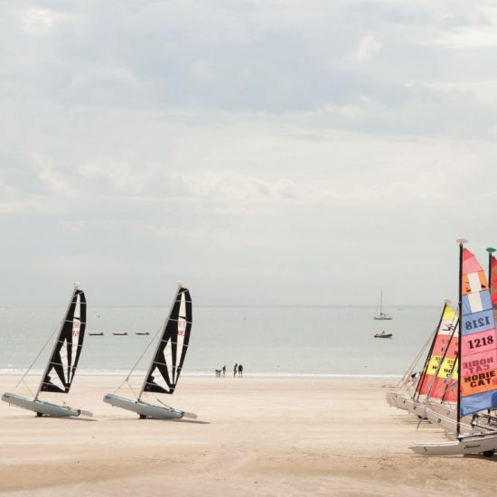 Beach with sail boats in Les Sables d'Olonne