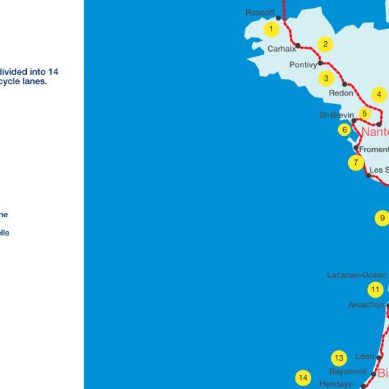 Map about Vélodyssée route