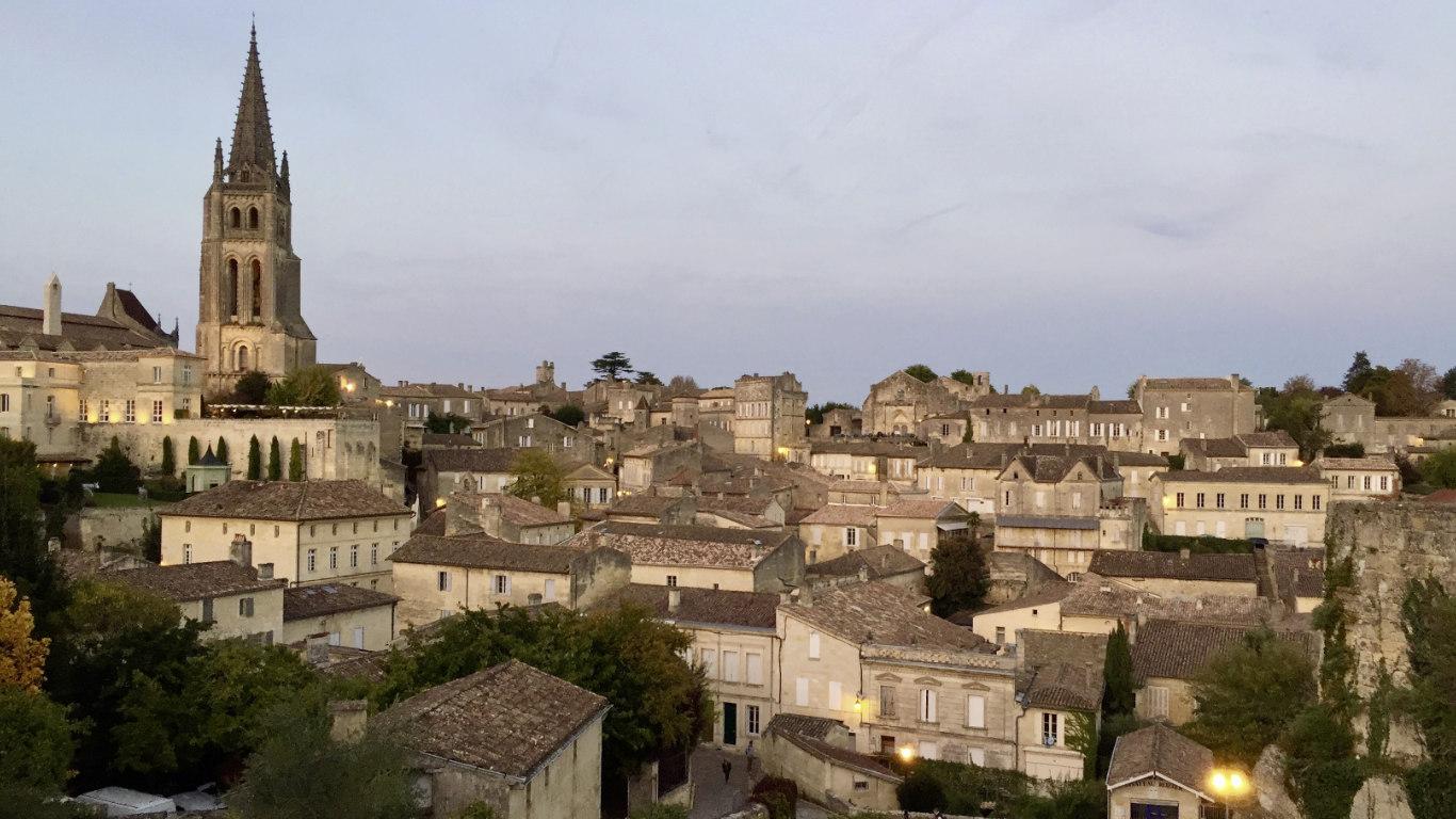 The town of Saint-Emilion at dusk